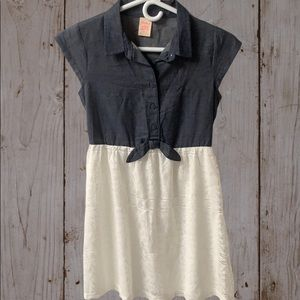NWOT Girls denim and white dress
